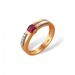 Кольцо из золота 585 пробы с бриллиантами и рубином