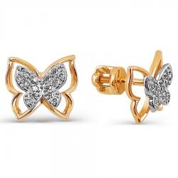 Золотые серьги гвоздики Бабочки с бриллиантами
