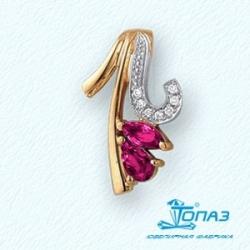 Золотая подвеска с рубином и бриллиантом