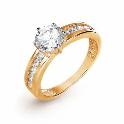 Золотое кольцо с Swarovski Zirconia