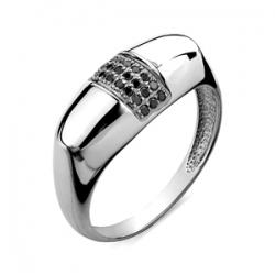 Мужское кольцо из белого золота с черными бриллиантами