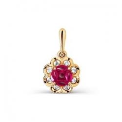 Золотая подвеска Цветок с рубинами, бриллиантами