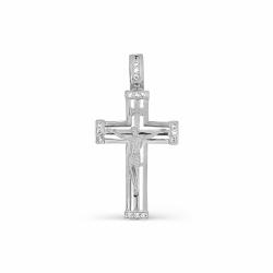 Крестик из белого золота с фианитами
