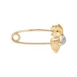 Брошь-булавка Рыбка из красного золота с фианитами