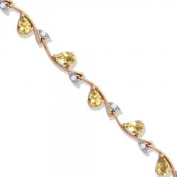 Золотой браслет с цитрином и фианитами