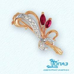 Золотая брошка Барбарис с рубином и бриллиантом