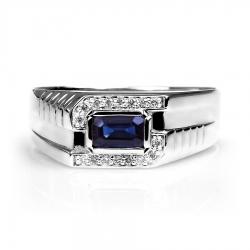 Т301045221 мужское кольцо из белого золота с сапфиром, бриллиантами