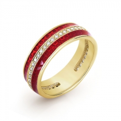 Кольцо из желтого золота с эмалью, фианитами