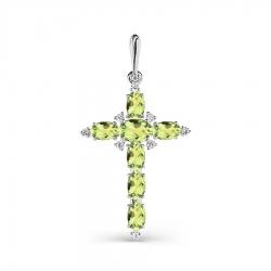 Крестик из белого золота с хризолитом и фианитами