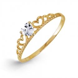 Кольцо Корона из желтого золота с фианитом