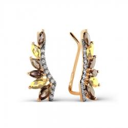 Золотые серьги с раухтопазами, цитринами, фианитами