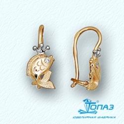 Детские золотые серьги Рыбки с бриллиантами