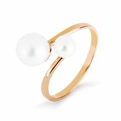 Золотое кольцо с белым жемчугом