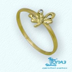 Детское кольцо Стрекоза из желтого золота с фианитом