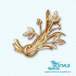 Золотая брошь Растения без камней