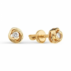 Золотые серьги гвоздики Розы с бриллиантами