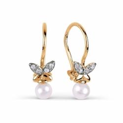 Золотые серьги Бабочки с белым жемчугом, фианитами