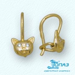 Детские серьги Котята из желтого золота с фианитами