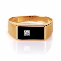 Золотая печатка с ониксом, фианитами
