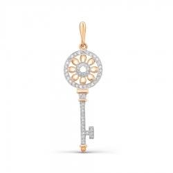 Золотая подвеска в виде ключа с бриллиантами