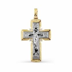 Мужской крестик из желтого золота с фианитами