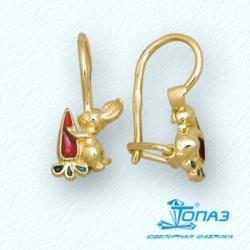 Детские серьги Зайчики из желтого золота с эмалью