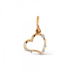 Золотая подвеска Сердце с бриллиантами