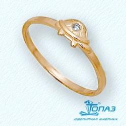 Детское золотое кольцо Черепаха с фианитом
