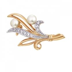 Золотая брошь Ландыши с белым жемчугом, фианитами