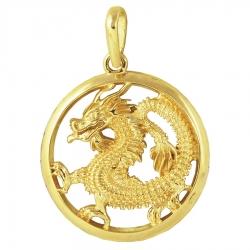 Подвеска Дракон из желтого золота