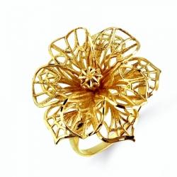 Кольцо Ажурный цветок из желтого золота