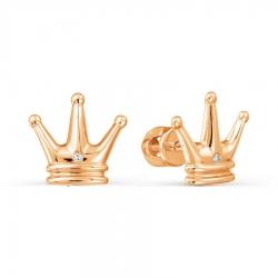 Золотые серьги гвоздики Корона с бриллиантами