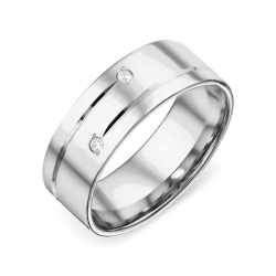 Обручальное кольцо из белого золота с фианитами