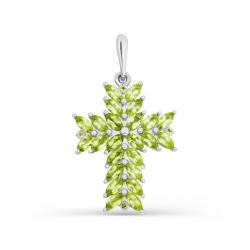 Крестик из белого золота с хризолитом