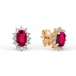 Золотые серьги-гвоздики с рубином и бриллиантом