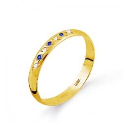 Кольцо обручальное из желтого золота с сапфирами, бриллиантами