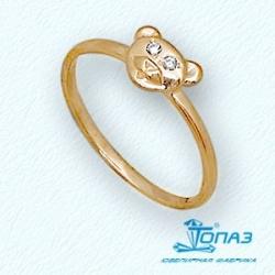 Детское золотое кольцо Мишка с фианитами