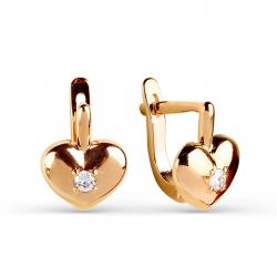 Детские золотые серьги Сердце с фианитами