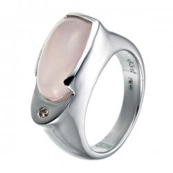 Кольцо из серебра 925 пробы с кварцем и бриллиантом