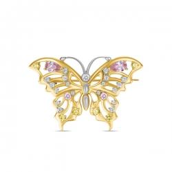 Брошка Бабочка из желтого золота c фианитами
