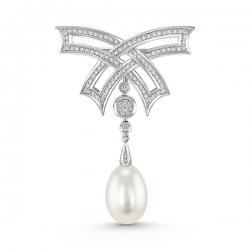 Брошка Бантик из белого золота c бриллиантами и белым жемчугом Драгоценное наследие