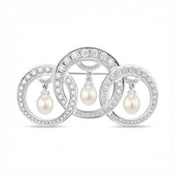 Брошка из белого золота c бриллиантами и белым жемчугом Драгоценное наследие
