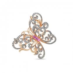 Золотая брошка Бабочка c бриллиантами и сапфирами