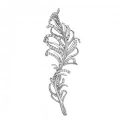 Брошка Перо из белого золота c бриллиантами