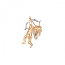 Золотая брошка Амур c бриллиантами