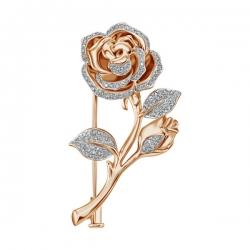 Золотая брошка Роза c бриллиантами