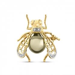 Золотая Муха брошка c бриллиантами и белым жемчугом Эксклюзив