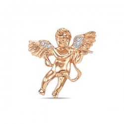Брошка Ангел из белого золота c бриллиантами