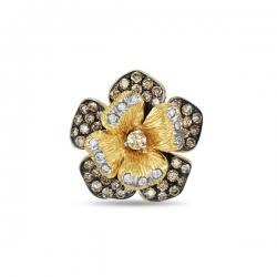 Брошка Цветок из желтого золота c бриллиантами