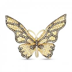 Брошка из желтого золота «Бабочка» c бриллиантами и сапфирами